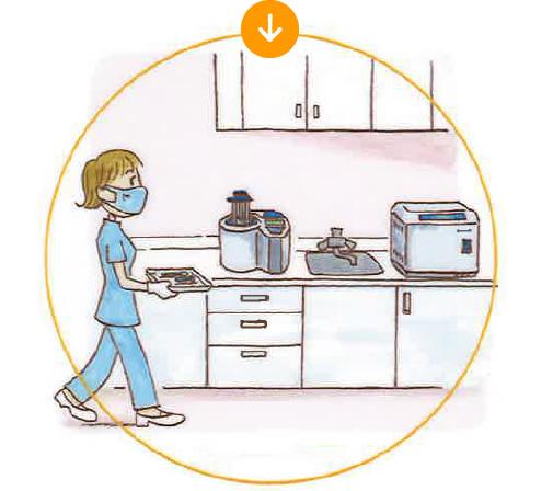 だから、患者さん毎に確実に器具の 洗浄・滅菌をしています。